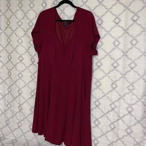 Special Occasion Red Wine Short Sleeve Dress